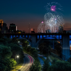 Realistic Honorable Mention - Car Trails and Fireworks - Terry Butler