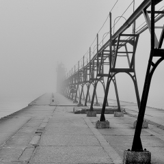 1st Place Mono Print - Fog Walk - Hubert Steve Cole