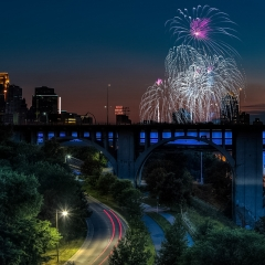 Honorable Mention Realistic - Fireworks from Bridge No 9 - Terry Butler