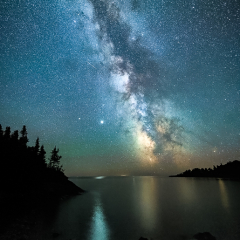 Nature Acceptance - Jupiter and the Milky Way over Lake Superior - Marianne Diericks