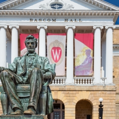 Abe Lincoln and Bascom Hall at University of Wisconsin