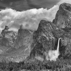 Merit - Black and White - Clouds over Bridalveil Falls - Mick Richards